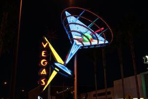 las vegas cyan signs neon night