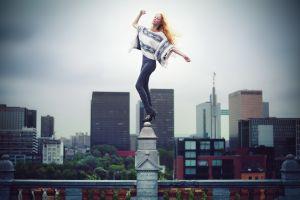 leggings redhead cityscape david olkarny closed eyes women