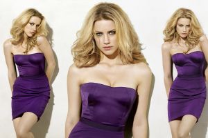 legs blonde purple dresses cleavage eyes purple simple background amber heard dress women collage actress