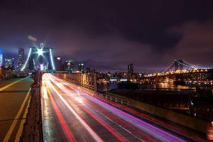 light trails new york city manhattan long exposure brooklyn night cityscape