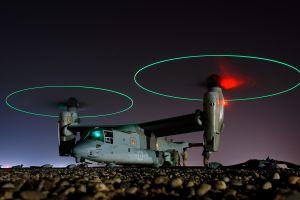 lights long exposure cv-22 osprey boeing-bell v-22 osprey marines stones night military aircraft
