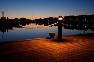 lights night city pier