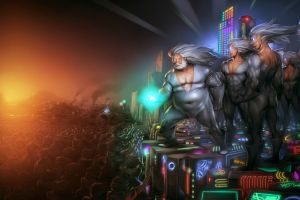 lights pc master  race gabe newell consoles white hair video games tight clothing men fantasy art peasants
