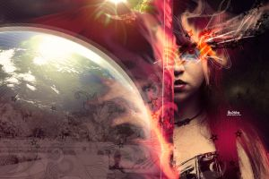 lines earth women space artwork digital art face abstract
