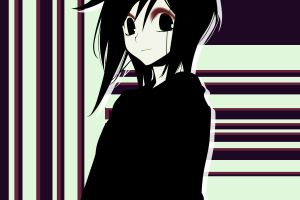lines looking at viewer purple background anime minimalism loveless