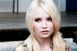 lips women blonde model shirt eyes actress emily browning platinum blonde long hair face closeup