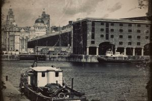 liverpool ship dock cityscape monochrome boat the royal liver building england building old albert dock water