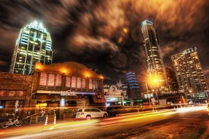 long exposure hdr cityscape building lights road