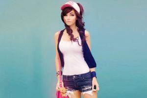 long hair auburn hair wavy hair model redhead women amy thunderbolt beethy jean shorts cosplay