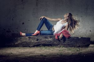 long hair brunette jeans tank top women red heels  high heels belt