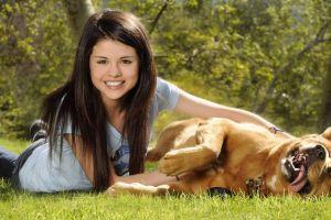long hair celebrity grass animals dog selena gomez women outdoors smiling