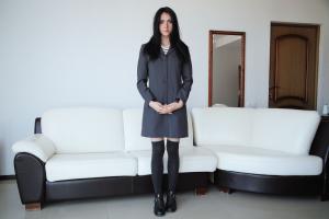 long hair dark hair women knee-highs mirror coats