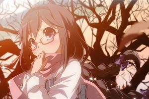 long hair glasses anime girls mahou shoujo madoka magica blushing akemi homura open mouth