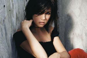 long hair looking at viewer tiffani amber thiessen women face black tops dark hair actress