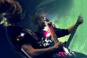 long hair men digital art guitar guitar hero video games music