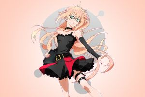 long hair simple background detached sleeves gatchaman crowds anime anime girls green eyes