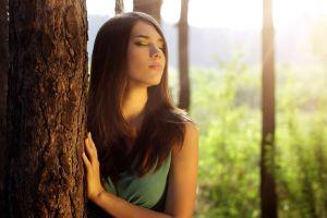 long hair trees face model redhead women closed eyes