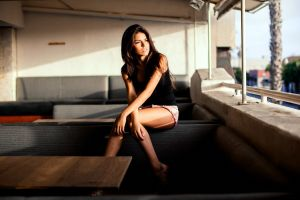 long hair urban decay women thighs brunette sitting model hot pants looking away open mouth