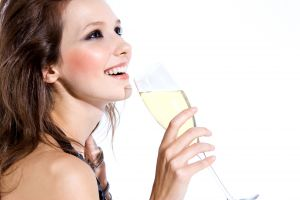 long hair women face alcohol champagne smiling brunette