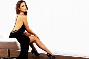 looking at viewer actress back olivia wilde women high heels black dress looking back brunette