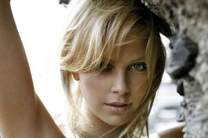 looking at viewer celebrity blonde face women outdoors women arms up green eyes charlize theron