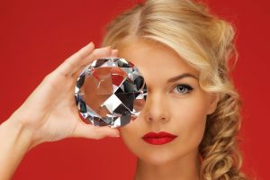 looking at viewer diamonds blue eyes women blonde red background face model