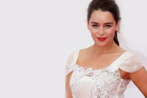 looking at viewer emilia clarke women actress simple background