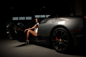 looking at viewer platform shoes women tattoo black hair women with cars ferrari