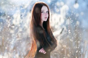 looking at viewer redhead wind depth of field freckles blue eyes long hair face women snowflakes