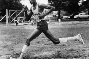 looking at viewer sport  running monochrome men sports