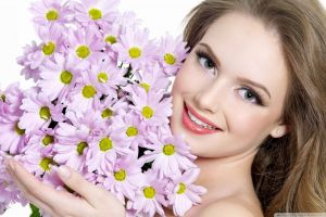 looking at viewer women gray eyes flowers smiling model face