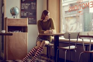 looking out window polka dots red lipstick sitting skirt short skirt women indoors sweater looking away knee-highs