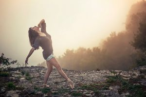looking up brunette cliff ballet slippers ballerina women outdoors mist women nature