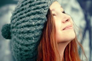 looking up model face funny hats redhead women