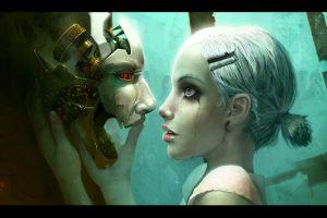 love cyberpunk women robot face tears science fiction
