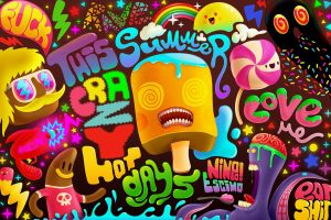 love surreal artwork colorful typography