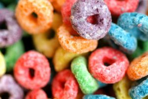 macro colorful cereal breakfast food