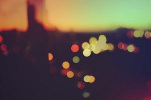 macro sunset bokeh blurred lights