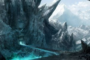 magic bridge skull mountains ice cave fantasy art