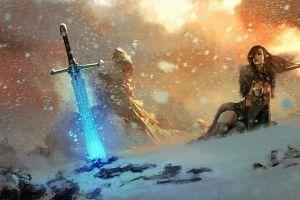 magic: the gathering warrior snow mountains fantasy art women video games sword