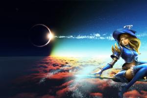 magic video games fantasy art long hair league of legends moon