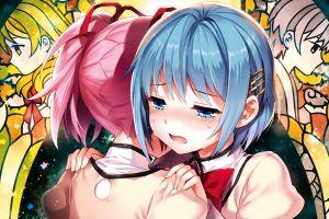 mahou shoujo madoka magica anime girls kaname madoka miki sayaka crying anime