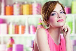 makeup blue eyes portrait looking at viewer actress redhead women brunette face emma stone celebrity
