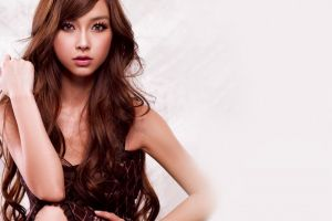 makeup curly hair women face long hair model simple background looking at viewer asian