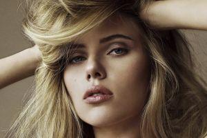 makeup long hair women scarlett johansson face actress portrait hands on head