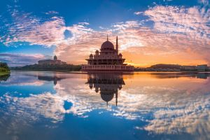 malaysia architecture sky clouds reflection