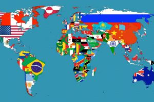 map flag world map