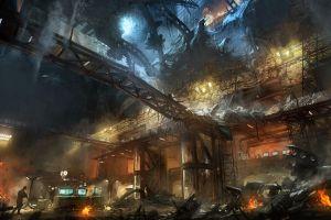 marek okon digital art futuristic artwork destruction city