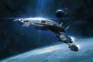 mass effect normandy sr-2 video games spaceship artwork mass effect 2 space