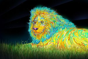 matei apostolescu lion psychedelic digital art anime animals anime colorful anime